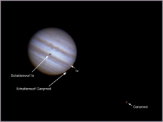 Jupiter mit Io und Ganymed, 9.3.2014