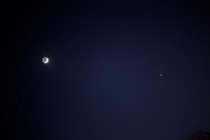 Der Mond und die Venus am 23.3.2015